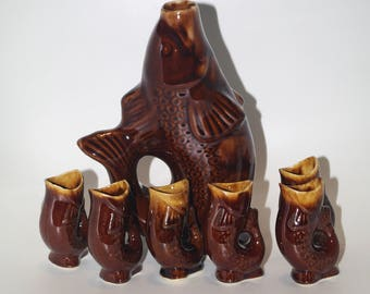 Soviet Brown Fish Drinking Set Vintage porcelain decanter in a shape of FISH and 6 glasses Vodka carafe animal collectible Made in USSR 70's