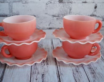 Hazel Atlas Pink Crinoline Ruffle Ripple Cups and Saucers, Four Sets, 4 Pairs, 8 Pieces Total