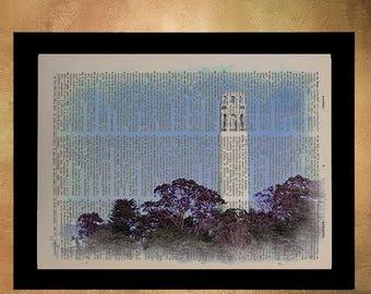 SALE-SHIPS Aug 22- San Francisco Coit Tower Dictionary Art Print, Ca California Architecture Upcycled Wall Art Home Decor Fine Art da620