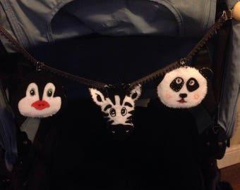 DIY pram toy kit, new baby,gift,sensory, learning. Panda/Penguin/Zebra