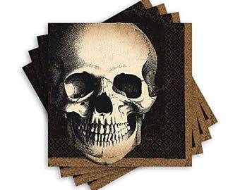20 Ct Strong 5 Inch Disposable Creepy Skull Halloween Paper Beverage - Appetizer - Dessert Napkins - Matching Tableware In This Shop