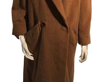 Bill Blass Signature Beige Wool Pea Pocketed Coat - Size 2 - Modern Size XS/S
