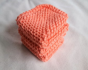 Knitted Dish Cloth, Knitted Wash Cloths, Cotton Dish Cloth Coral