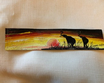 Hand painted leather bookmark - two elephants - BKMK2-07