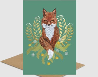 Brown Fox greeting card cute animal fox girlfriend gift Birthday nature lover FREE SHIPPING fox lover for grandmother mother by Ruta13
