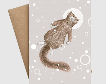 Cut funny brown cat floating with bubbles in space girlfriend boyfriend friend greeting card animal nature cat lover card by ruta13