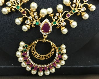 Hyderabadi jewellery set | Hyderabadi Wedding Jewelry | Indian Wedding Jewelry | Indian Bridal Earrings | South Indian Temple Jewelry |pearl