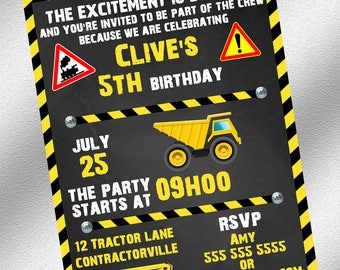 Construction Invitation - Instant Download - Printable Invitations - Construction Party- Boy Party - Kids Party