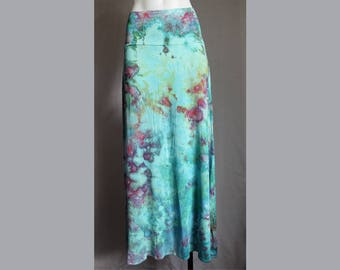 Tie dye Maxi skirt ice dye womens boho indie festival wedding fashion style size Large - Cotton Candy crinkle