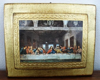 Italy Golden Wood Plaque Last Supper Wall Hanging Easter