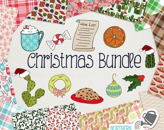 Christmas Digital Paper and Clip Art BUNDLE - save 60% on Northern Whimsy hand drawn Christmas sets!  Commercial use (CU) license included.
