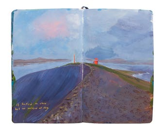 "Fine Art Print of Iceland Landscape Painting from Artist Sketchbook - ""Hrisey Island Lighthouse"""