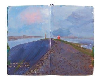 "Fine Art Print of Iceland Landscape Painting from Artist Sketchbook - ""Hrisey Island Lighthouse"""