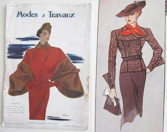 """46 pages of 1930s French high fashion, projects & adverts! """"Modes et Travaux""""~Stunning illustrations!~Costume designer~Fashion historian"""