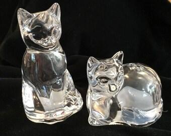 Vintage Salt & Pepper Shakers Set Fine Lead Crystal Gorham Cat Figurines