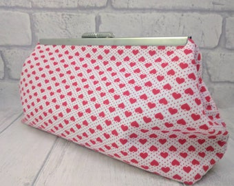 Red hearts clutch bag, evening bag, purse, alternative bridal purse, red and white, handmade bag, prom bag, bridesmaid purse