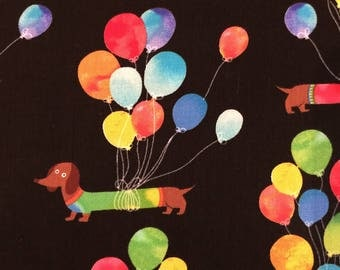 Colorful Dachsunds with Balloons by Timeless Treasures