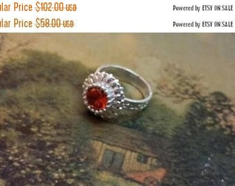 Holiday SALE 85 % OFF Orange Quartz Size 7  Ring Gemstone. 925 Sterling  Silver  Flower