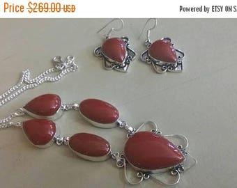 Holiday SALE 85 % OFF Red Coral  Necklace Earrings  Set .925 Sterling  Silver Gemstone
