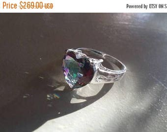 Holiday SALE 85 % OFF Mystic Topaz Size 9 Ring Gemstone. 925 Sterling  Silver