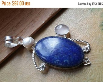 Holiday SALE 85 % OFF Pearl Pendant Moonstone  Gemstones Lapis Lazuli . 925 Sterling Silver