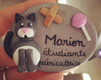 Personalized grey cat and lollipop nurse badge