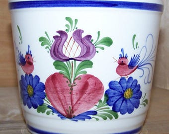 """7"""" Flower Pot Handpainted Ceramic in old world style made in Austria"""