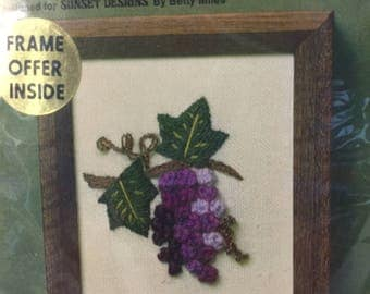 Jiffy Stitchery 354, Crewel Embroidery, Needlework Kit, Kitchen Picture, Fruit Embroidery,Sewing Project, Grape Print,Wall Hanging