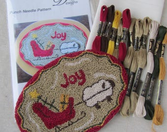 Primitive Punch Needle KIT ~ Christmas sheep with sleigh ~ PunchNeedle paper pattern ~ Needle Punch Kit ~ Christmas sheep with sleigh