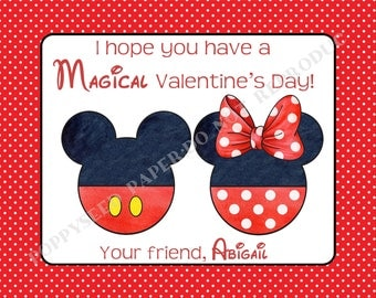 Mickey Mouse Valentines Day Cards Set Personalized   Set Of 24 (8 Each Of 3