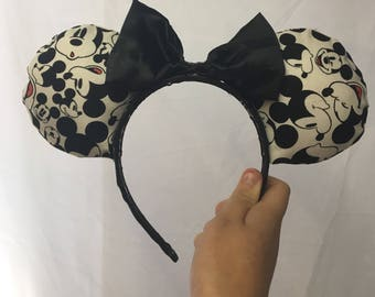 Black and White Mickey Mouse Mickey Ears
