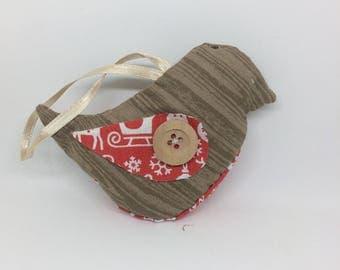 Textile bird bauble (wooden print)