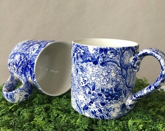 Vintage Chintzware Mugs, Laura Ashley Blue Chintz | english staffordshire, cottage kitchen, blue and white, floral tea mug, coffee cups