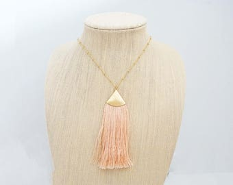Light Blush Pink and Gold Long Tassel Necklace