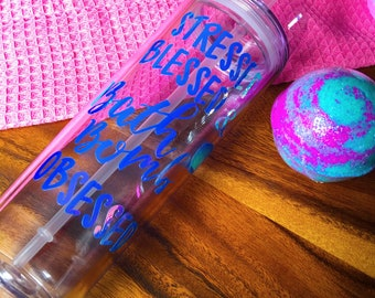 Bath Bomb Obsessed Tumbler Cold Drink Gift Set Bath Bomb Set Handmade Decorated by hand straw travel cup 10 oz Tumbler Easter Gift Egg Hunt