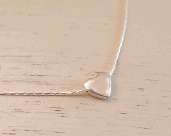 Silver Heart Necklace - Silver Heart Pendant - Tiny Heart Necklace - Silver Heart Charm - Heart Jewelry - Mom Necklace - Simple Necklace