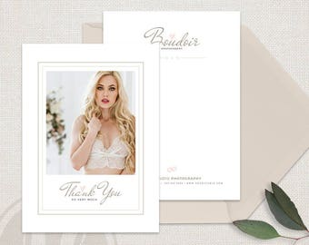 Boudoir Photography Thank You Card Template - Biydiur Photographer Thank You Card, Client Thank You Card, Photography Marketing