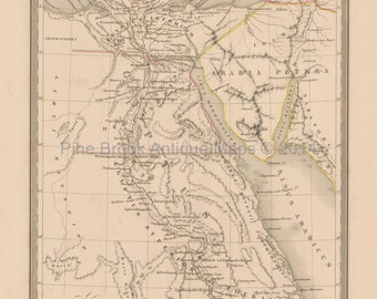Ancient Egypt Antique Map Malte Brun 1850 Original