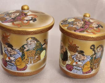 Vintage Japanese Male and Female Tea Cups, Gold Japanese Teacups with lids, Asian pair of tea cups