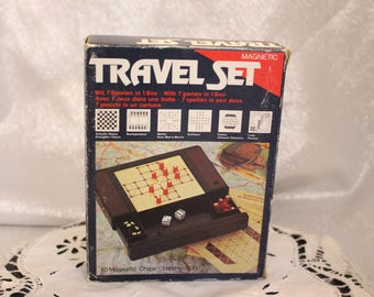 Vintage Travel Set with 7 (Seven) Different Games Magnetic Instructions