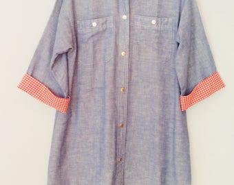 1970s Chambray Shirt Dress