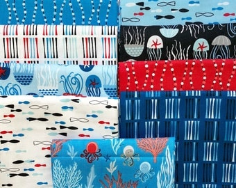 Come Dive With Me Fat Quarter Bundle from Windham Fabrics, Scuba Divers, Submarines, Octopus, Coral, Red White and Blue 100% cotton, 9 FQ's