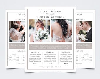 """Photography Pricing Guide Template for Photoshop 010 - 8.5"""" x 11"""" Price Sheet - Photographer Template - Photography Template"""
