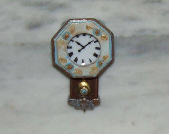 French Country Clock for 1:12th Dollhouse.  Mantle Wall Clock.  Hand Painted.  Porcelain Face.