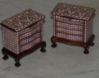 1:12th Dollhouse Matching End Table Chests.  Decoupaged with Ivory Inlay Pictures.  Four Drawers.