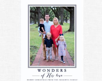 Christmas Card | Photo Card | Simple | Wonders of His Love | Watercolor Wreath | Modern | Calligraphy| Navy  -FREE SHIPPING or DIY printable
