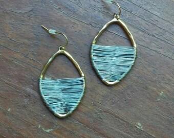 Wire Wrap TearDrop Earrings, Wire Earrings, Silver and Gold Wire Earrings