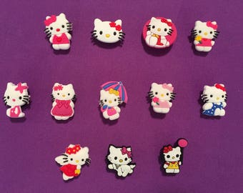 12-pc Hello Kitty Shoe Charms for Crocs, Silicone Bracelet Charms, Party Favors, Jibbitz