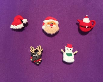 5-pc Christmas Shoe Charms for Crocs, Silicone Bracelet Charms, Party Favors, Jibbitz