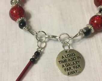 Star Wars Bracelet, Red Lightsaber Bracelet, Star Wars Jewelry, Star Wars Stamp Charm, Sith Bracelet, Sith Jewelry, Lightsaber jewelry